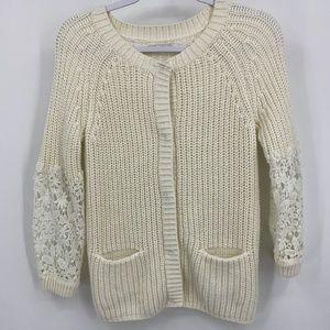 Lauren Conrad Sweater Crochet Lace Sleeves Snap